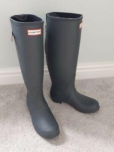 Hunter Original Tall Back Adjustable Grey Wellington Boots NEW Size 6 Wellies