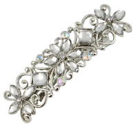 Large Diamante Flower Silver Barrette Hair Clip