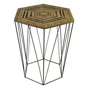 Patterned Wooden Top Side Table Black Geometric Wire Base Removable Lid Tables