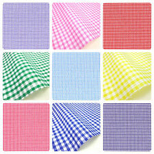 "GINGHAM POLYCOTTON FABRIC 1/8"" CHECK 112CM 44"" WIDE SEWING DRESSMAKING CURTAINS"