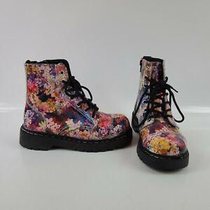 Womens T.U.K. Anarchic T2225 Floral Combat Boots