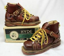 early HYDE Ski Boots ~ Leather Shoes in Original ~ Box MUST SEE DESIGN vintage