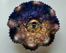 VINTAGE NORTHWOOD BLUE CARNIVAL GOOD LUCK HORSESHOE GLASS BOWL RUFFLED EDGE