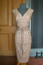 "GORGEOUS PHASE EIGHT ""ESME"" LATTE LACE FITTED EVENING DRESS, SIZE 12"