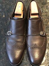 Ferragamo Brown Leather Monk Strap Shoes US Mens Size 13EE