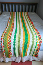 "Multi-Colored Green Striped Crochet Afghan Blanket Throw, 96"" x 28"" Table Runner"