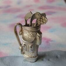 VINTAGE SILVER GOLF BAG WITH MOVING CLUBS CHARM