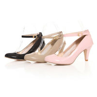 New Womens Pumps Mary Janes Kitten Low Heel Ankle Strap Court Dress Court Shoes