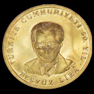 1973 GOLD TURKEY 5.9 GRAMS 500 LIRA 50th ANNIVERSARY COIN
