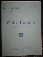 """Partition pour violon et piano, """"gais loisirs"""" de Maurice Hauchard"""