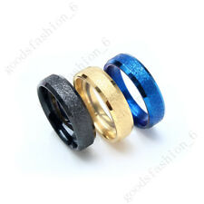 10pcs For Womens Men Stainless Steel Frosted Black Gold Blue Rings Wholesale