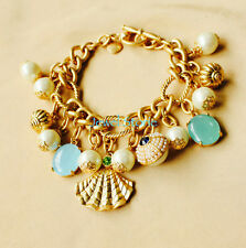 New GORGEOUS Beach Charm Pearl Pave Crystal Chain Link Bracelet Bangle