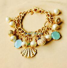 New GORGEOUS Beach Charm Pearl Pave Crystal Chain Link Bracelet Bangle