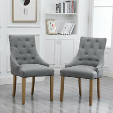 2/4/6Pcs Dining Chairs Armchair High Back Upholstered Fabric Metal Leg Grey New