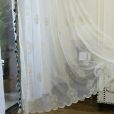 Embroidery Net Fabric Curtain Pelmet Lace Voile Tulle Window Panel Drape Sheer