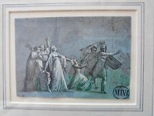 "ORIGINAL Old Master Ink & Wash drawing on blue paper stamped ""MIVB"""