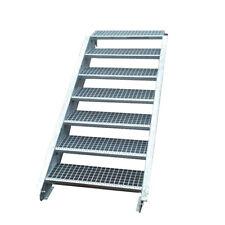 Stahltreppe Treppe 7 Stufen-Stufenbreite 80cm / Geschosshöhe 100-140cm verzinkt