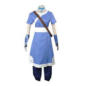 Katara Cosplay Blue Costume Avatar The Last Airbender Girl Halloween Outfits New