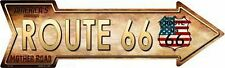 """American Flag Route 66 Novelty Metal Arrow Sign 17"""" x 5"""" Wall Decor"""