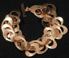 "Brushed Textured Solid Copper Oval Cha Cha Link Chain Bracelet 6 1/2"" - 8"""
