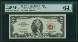 U.S. 1963 $2 LEGAL TENDER BANKNOTE RED SEAL - STAR NOTE - 6 DIGIT SERIAL NUMBER