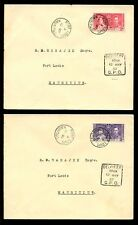 MAURITIUS 1937 CORONATION SET FDCs + FIRST DAY DELIVERY