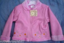 Girls Pink Winter Faux Suede Sheer ling Coat Embroidered Size 6-12 Months BNWT