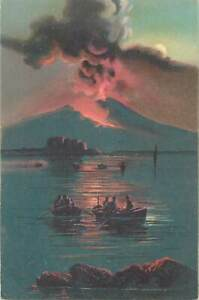 Postcard Italia Napoli ( Naples ) Mountain view night fishing boat volcano