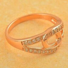 Unique 9K Rose Gold Filled CZ Womens Ring Size 7 Yellow Jewelry Wedding Rings
