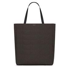 SAINT LAURENT 'YSL' Monogram Leather Tote Bag Brown 342608 NWT