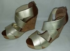 Womens chinese laundry gold open toe platform wedge shoes/sandals sz 9