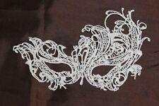 White Fabric Venetian Masquerade Eye Mask Halloween Lace Fancy Dress Constance