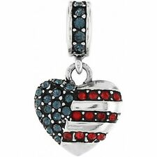 BRIGHTON OF THE HEARTLAND FLAG HEART PATRIOTIC 4TH OF JULY CRYSTAL CHARM