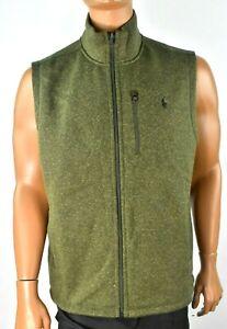 Polo Ralph Lauren Mens Vest Jacket New XL Olive Green Full Zip Fleece Casual