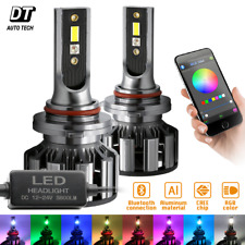 2 in 1 9005 100W 10000LM CSP LED Fog Light Kit+RGB Bluetooth Phone Control