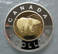 2009 CANADA TOONIE PROOF SILVER WITH GOLD PLATE TWO DOLLAR COIN