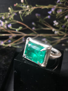 Clovis Emerald Ring, Sterling Silver, Hallmarked, Size V