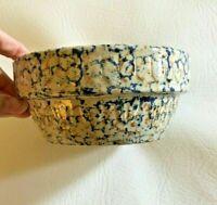 "Vintage AMERICANA GENERAL Spongeware Blue Brown Stoneware Pottery Bowl 5"""