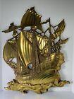 Vintage Dart Industries Large Pirate Ship Wall Decor Gold MCM Nautical #3663