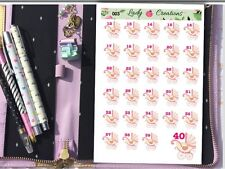 003 | 29 Pregnancy count down baby girl or Boy PINK HOMEMADE Planner Stickers