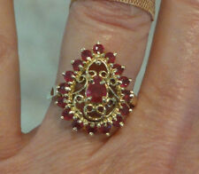 Estate 10K Yellow Gold Filigree Ruby Sz 5.25 Ring 3.20gram