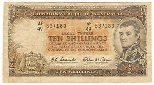 1954 AUSTRALIA Note 10 SHILLINGS - CURRENCY