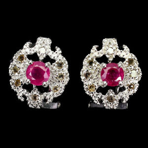Round Red Ruby 5mm 16pcs Diamond Round Rose Cut 925 Sterling Silver Earrings