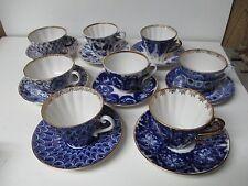 8 Stunning LOMONOSOV USSR Porcelain Cups & Saucers - Cobalt Blue & Gold