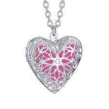 Oil Perfume Antique Aroma Diffuser Heart Shape Necklace Locket Pendant