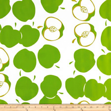 Apple Print Fabric, Fabric By The Yard Lime Green, Oilcloth Fabric, Heavyweight