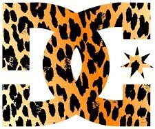 DC decal sticker leopard skin print 2 for 1  skateboard snowboard