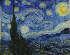 STARRY NIGHT 24X36 POSTER WALL ART OIL ON CANVAS VINCENT VAN GOGH ARTIST PAINT!!