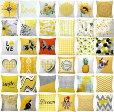 """Cushion COVER Yellow White Gray Double-Sided Decorative Throw Pillow Case 18x18"""""""