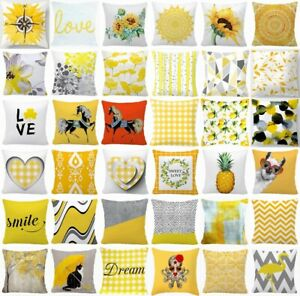 "Cushion COVER Yellow White Soft Decorative Gray Sofa Throw Pillow Case 18x18"" US"